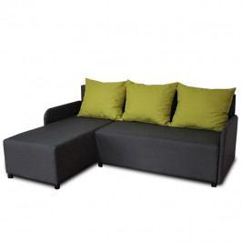 Rohová sedací souprava, tmavě šedá / zelená, levá, BODRUM