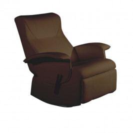 relaxační křeslo, hnědá textilní kůže PU, ROMELO C3   Tempo Kondela