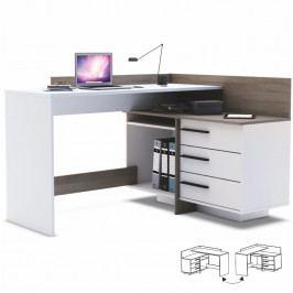 PC stůl, L / P, rohový, tmavý dub / bílá, TALE