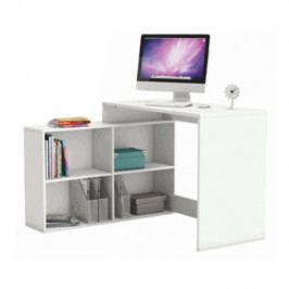 Rohový PC stolek, bílá, KORNER