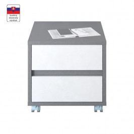Kontejner M7, DTD laminovaná, šedá grafit / bílá, MARSIE