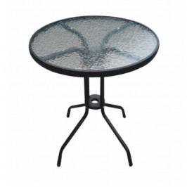 Jídelní stůl, černá ocel / temperované sklo, BORGEN TYP 1