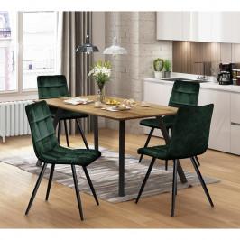 Jídelní stůl BERGEN dub + 4 židle BERGEN zelený samet