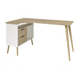 Rohový psací stůl NORSK dub/bílá