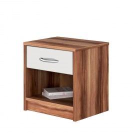 Noční stolek 4621 ořech/bílá