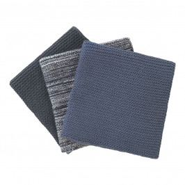 Blomus Sada 3 pletených utěrek Wipe studené barvy