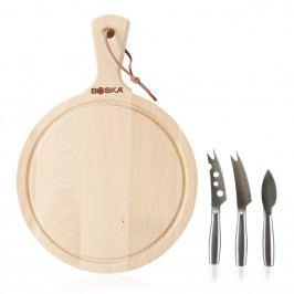 Boska Kulaté dřevěné prkénko a set nožů na sýr Amigo
