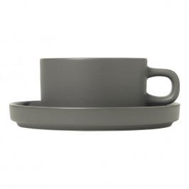 Blomus Sada 2 hrnků na čaj s podšálky Mio cínová 0,17 l