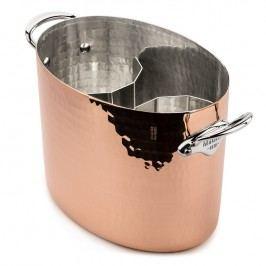 MAUVIEL Měděná tepaná chladicí nádoba na sekt oválná Ø 26 cm s nerezovými uchy