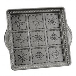 NordicWare Čtvercová forma na Shortbread sněhové vločky Snowflakes stříbrná, Nordic Ware