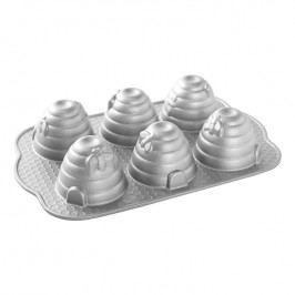 Nordic Ware Forma na 6 malých včelích úlů Beehive Bundt® stříbrná