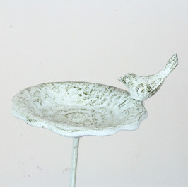 Litinové pítko zápich s ptáčkem bílé 75cm
