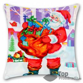 TOP Povlak na polštářek s vánočním motivem 45x45 Santa s dárky