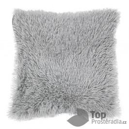 TOP Luxusní povlak na polštářek s dlouhým vlasem 40x40 - Světle šedá