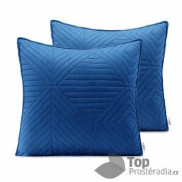 TOP Povlak na polštářek SOFTA 45x45 saténový 1 ks - Tmavě modrá/světle modrá