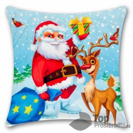 TOP Povlak na polštářek s vánočním motivem 45x45 Santa s Rudolfem