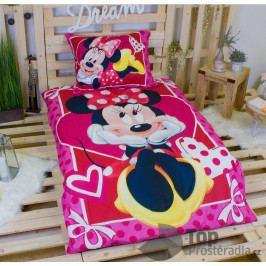 Dětské bavlněné povlečení Minnie Hearts 2 140x200+70x90