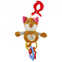 Dětská plyšová hračka s chrastítkem Baby Mix liška růžová