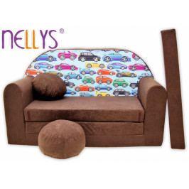 NELLYS Rozkládací dětská pohovka Nellys ® 72R - Malá autíčka v hnědé
