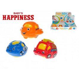 Dopravní prostředek 7cm klouzající a plavací Baby´s Happiness asst 3 druhy 12ks v box