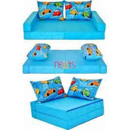 NELLYS Rozkladací dětská pohovka 3 v 1 - P01 - Auta v modré