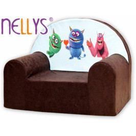 NELLYS Dětské křesílko/pohovečka Nellys ® - Příšerky v hnědé