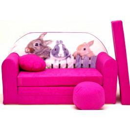 NELLYS Rozkládací dětská pohovka Nellys ® 80R - Zajíčci v růžové