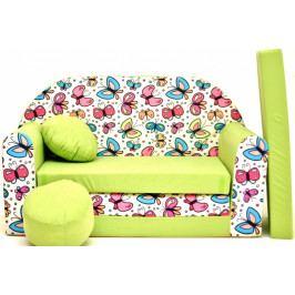 NELLYS Rozkládací dětská pohovka Nellys ® 77R - Motýlci v zelené