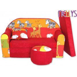 NELLYS Rozkládací dětská pohovka 03R - Afrika v červené
