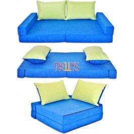 NELLYS Rozkladací dětská pohovka 3 v 1 - P10 - Modrá/zelená