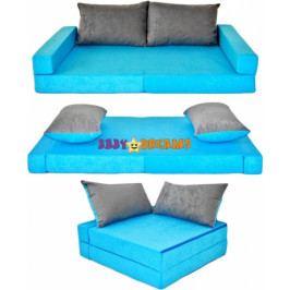 NELLYS Rozkladací dětská pohovka 3 v 1 - P12 - Modrá/šedá
