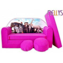 NELLYS Rozkládací dětská pohovka 45R - Safari v růžové