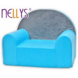 NELLYS Dětské křesílko/pohovečka Nellys ® - Šedá s modrou