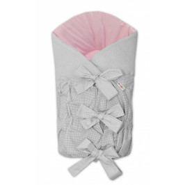 Baby Nellys Zavinovačka šněrovací 75x75cm - šedá/růžová - jemná kostička