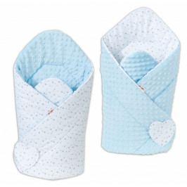 Baby Nellys Oboustranná zavinovačka Minky Baby - Mini hvězdičky šedé na bílém/ sv. modrá