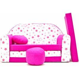 NELLYS Rozkládací dětská pohovka Nellys ® 86R - Magic stars - růžové