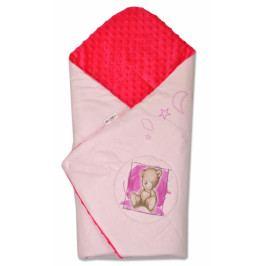 Baby Nellys Zavinovačka, bavlněná s minky 75x75cm by Teddy -  sv. růžová, malina