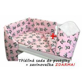 Baby Nellys 3-dílná sada mantinel s povlečením + zavinovačka zdarma - Baby Panda, růžová