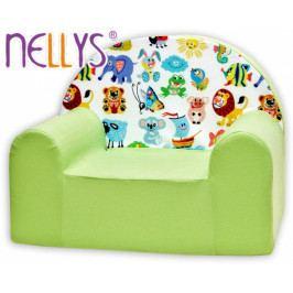NELLYS Dětské křesílko/pohovečka Nellys ® - Veselá zvířatka v zelené