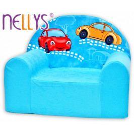 NELLYS Dětské křesílko/pohovečka Nellys ® - Veselá autička v modrém