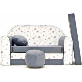 NELLYS Rozkládací dětská pohovka Nellys ® 84R - Magic stars - šedé/bílé