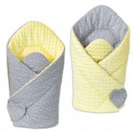 Baby Nellys Oboustranná zavinovačka Minky Baby - Mini hvězdičky bílé na šedém/ žlutá