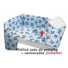 Baby Nellys 3-dílná sada mantinel s povlečením + zavinovačka zdarma - Baby Panda, modrá