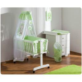 Baby Nellys Dřevěná kolébka s plnou výbavou Sweet Dreams by Teddy - zelená