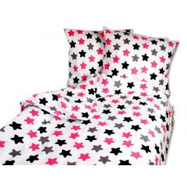 Baby Nellys Bavlněné povlečení 140 x 200/70 x 90- barevné hvězdičky - růžové