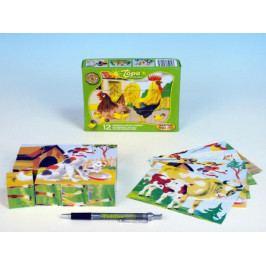 TOPA Kostky kubus Domácí zvířátka dřevo 12ks v krabičce 16,5x12x4cm