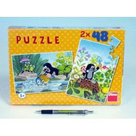 Dino Puzzle Krtek 26,4x18,1cm 2x48 dílků v krabici 27x19x3,5cm