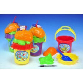 Teddies Sada na písek - kbelík, sítko, lopatka, 2 bábovky plast asst 4 barvy v síťce 13x26x13cm 18m+