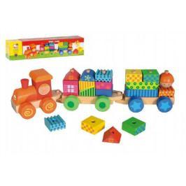 Vlak s domečky dřevo 21 dílků v krabici 43x10x10cm 18m+