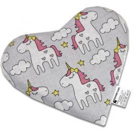Babyrenka nahřívací polštářek z třešňových pecek Srdíčko Unicorn 20 x 20 cm